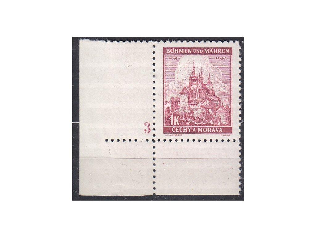 1939, 1K Praha, rohový kus s DČ3, široký okraj, Nr.31, **
