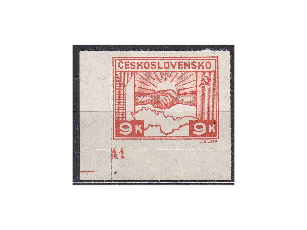 1945, 9K Košické, roh. kus s DČ A1, Nr.357, **, natrženo v průseku