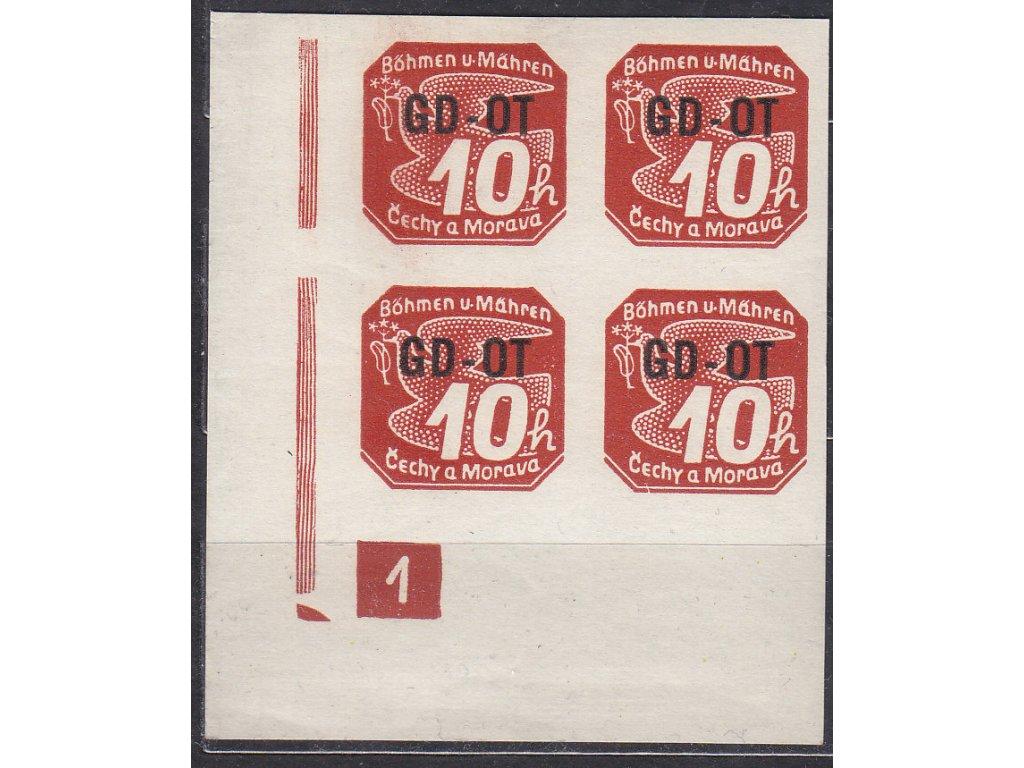 10h GD-OT, roh. 4blok s DČ 1 - zakončení trojúhelník, (Pof.1500,-), Nr.OT1, **