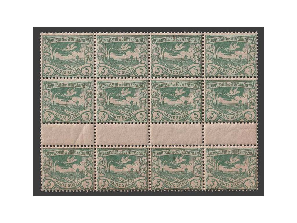 Oberschlesien, 1920, 5 Pf Výjev, meziarší, MiNr.15, **