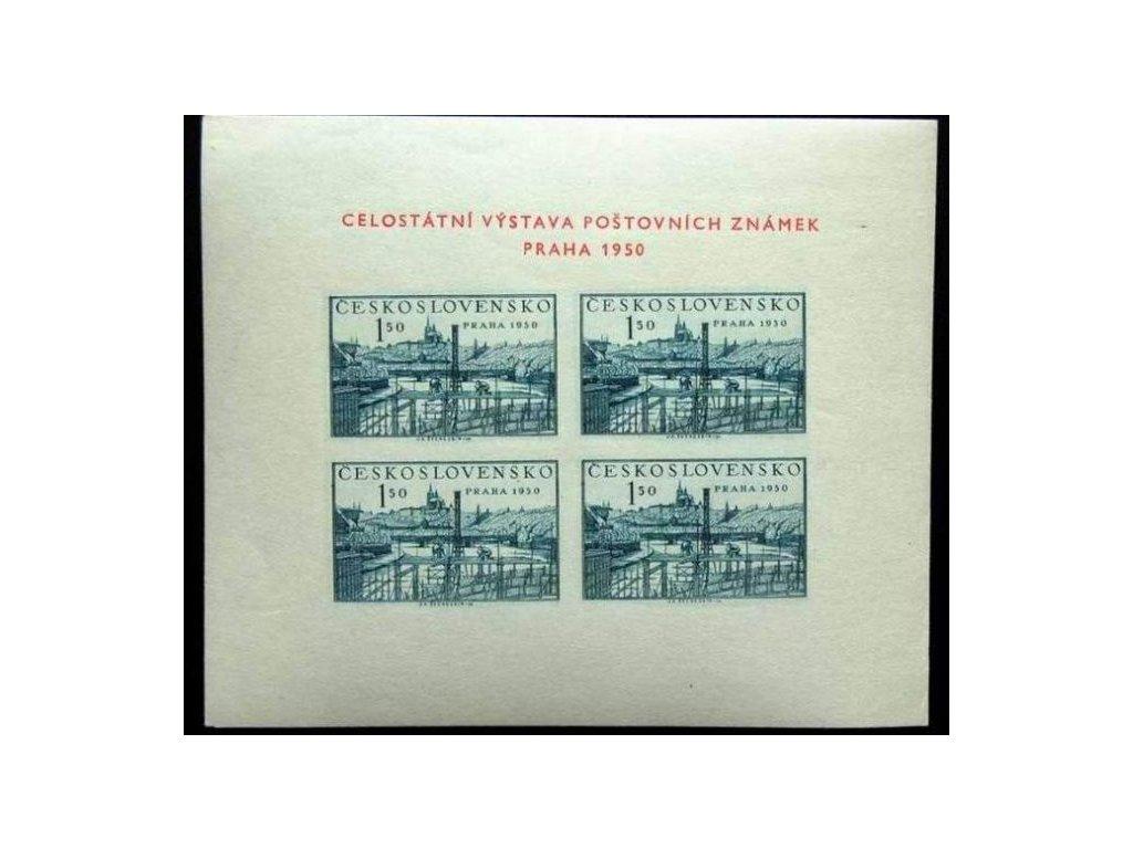 1950, 1.50Kčs aršík PRAHA 1950, Nr.A564, * po nálepce, známky **, ilustrační foto