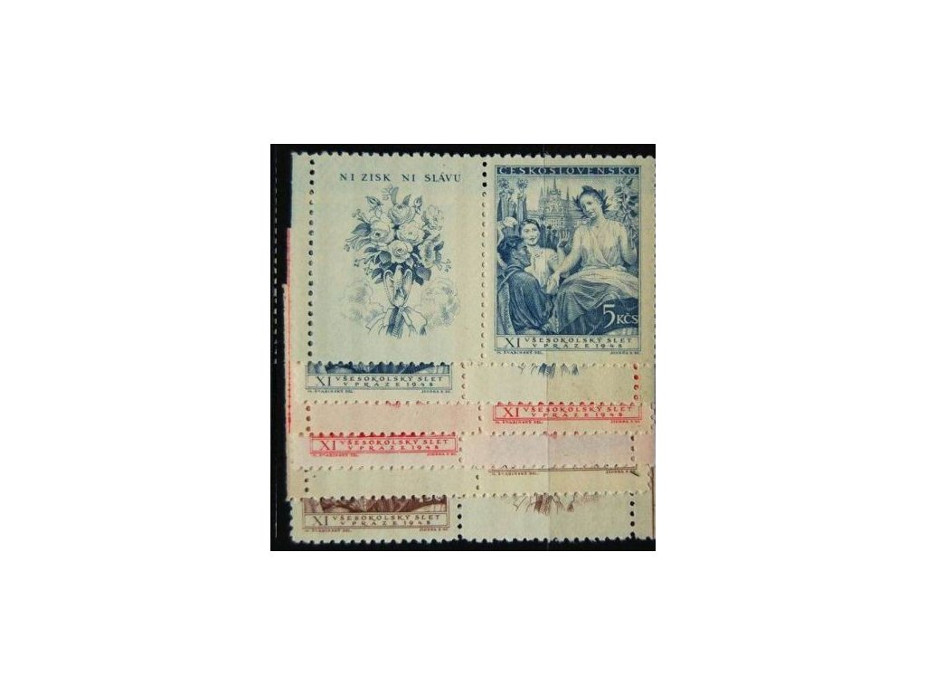 1948, 1.50-5Kčs Všesokolský slet, Nr.467-69, KL+KP, **