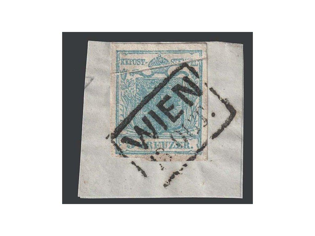 1850, 9 Kr Znak, razítko Wien, výstřižek, MiNr.5, složka