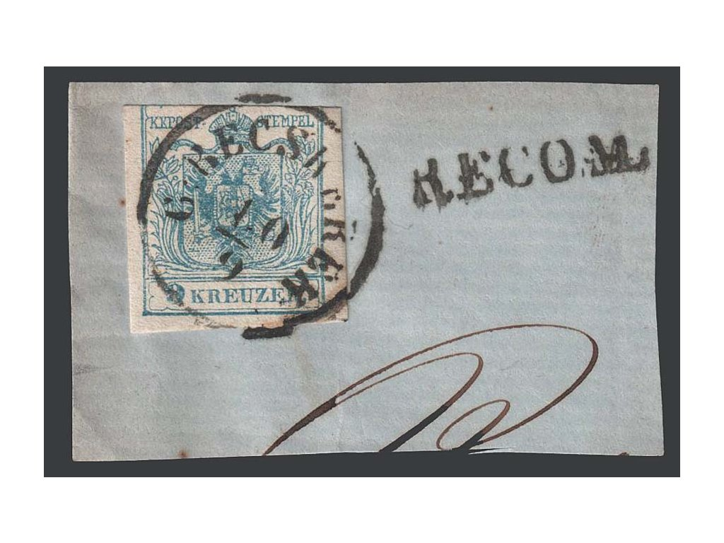 1850, 9 Kr Znak, razítko G:Becskereh, výstřižek, MiNr.5