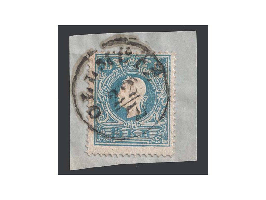 1858, 15 Kr Znak, razítko Ollmütz, výstřižek, MiNr.15II
