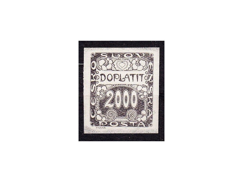 2000h, ZT v černé barvě na bílém papíru, slabý tisk, Nr.DL14, bez lepu