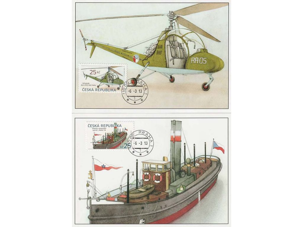 CM 89-90 Historické dopravní prostředky Remorkér a vrtulník