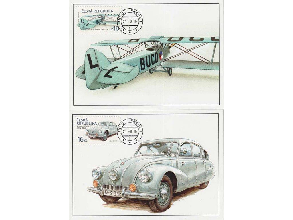 CM 120-121 Historické dopravní prostředky Automobil a letadlo