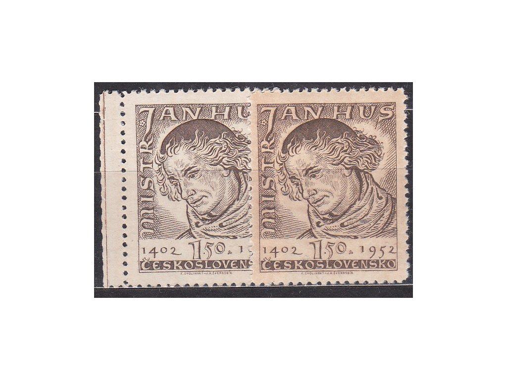 1952, 1.50Kčs Hus, 2 ks - odstíny barev, Nr.667, **