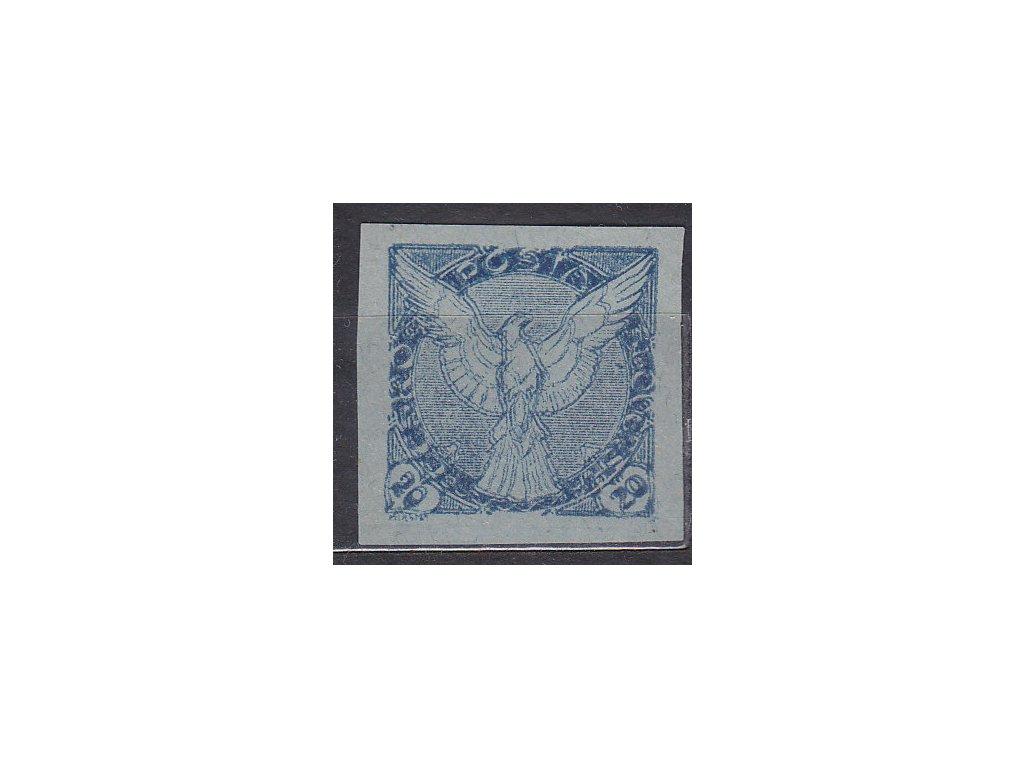 20h modrá, ZT na namodralém papíru, dvojitý tisk, Nr.NV5, bez lepu