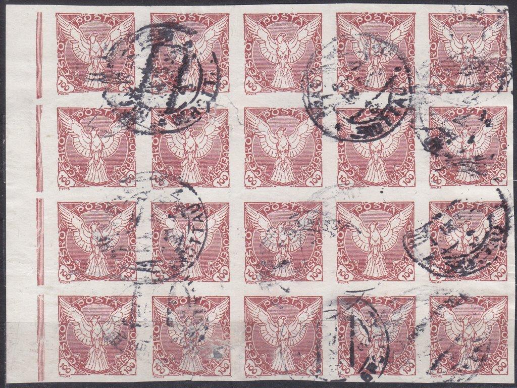 100h červenohnědá, krajový 20blok!, Nr.NV8, razítkované, horší jakost, mimořádný blok vysoké hodnoty