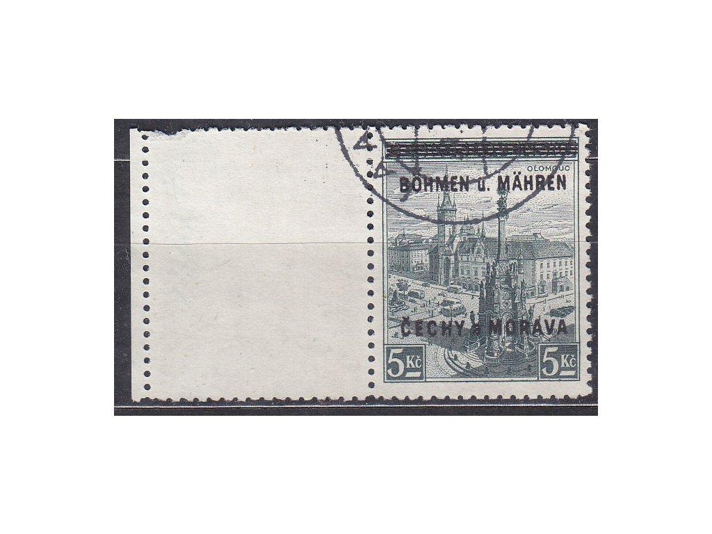 1939, 5Kč Olomouc, levý kupon, Nr.18, razítkované, kzy na kuponu
