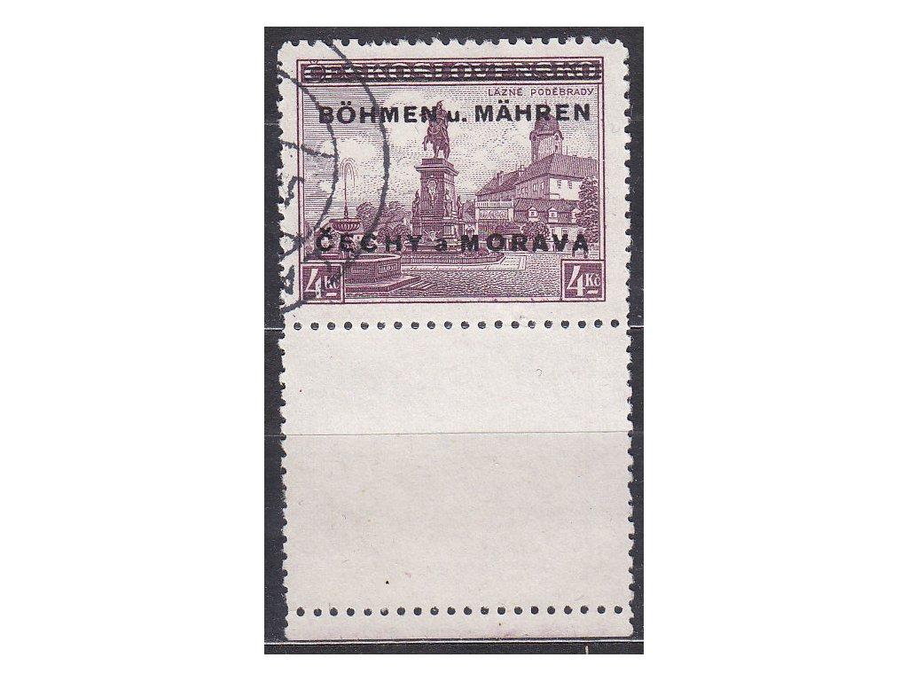 4Kč Poděbrady, dolní kupon, Nr.17K, razítkované