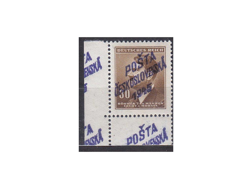 30h Hitler, roh. kus s přetiskem POŠTA ČESKOSLOVENSKÁ 1945, přetisk na okraji + částečný obtisk, **