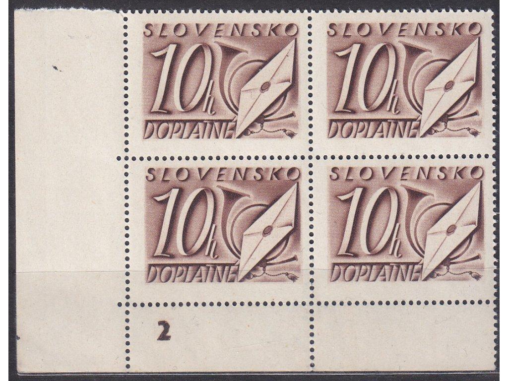 1942, 10h hnědá, roh. 4blok s DČ 2, Nr.DL24, **