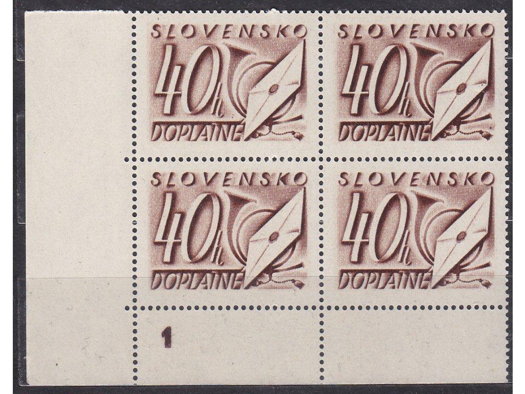 1942, 40h hnědá, roh. 4blok s DČ 1, Nr.DL26, **