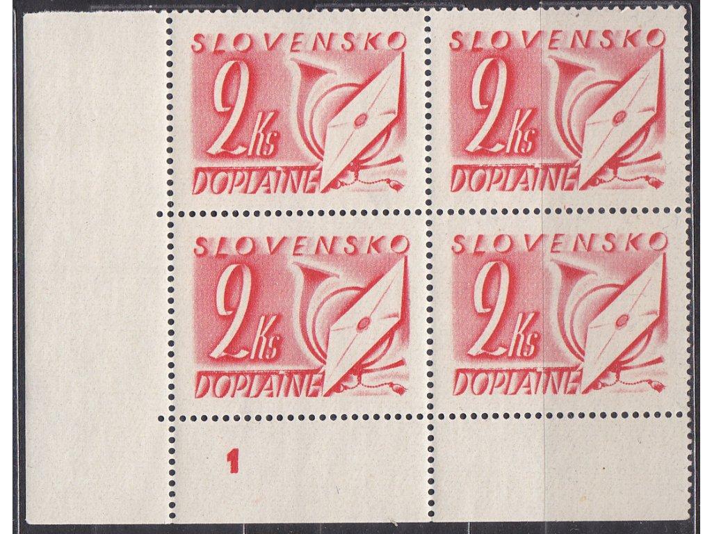 1942, 2Ks červená, roh. 4blok s DČ 1, Nr.DL23, **