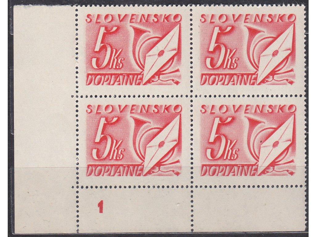 1942, 5Ks červená, roh. 4blok s DČ 1, Nr.DL26, **