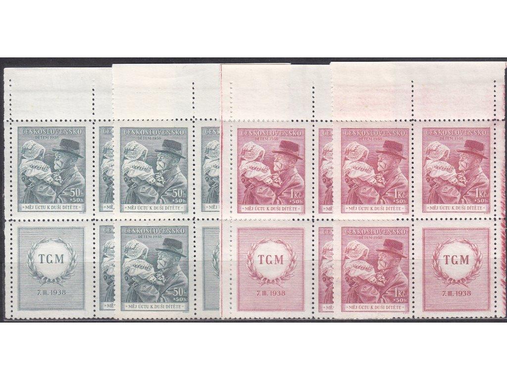 1938, 50h-1Kč Masaryk, horní roh. 4bloky, L+P, Nr.333-4, **/*