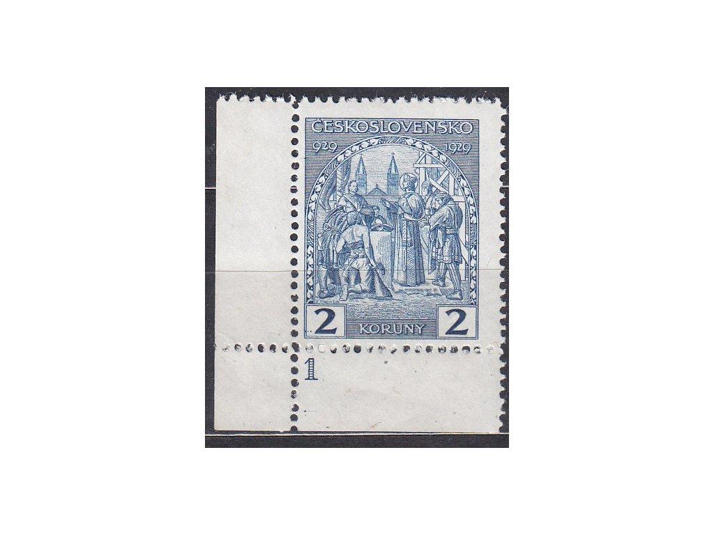 2Kč sv. Václav, roh. kus s DČ 1, Nr.245, **, nálepka na okraji mimo zn.