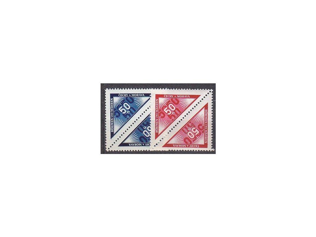 50h modrá a červená Doruční, dvojice, Nr.DR1-2, **