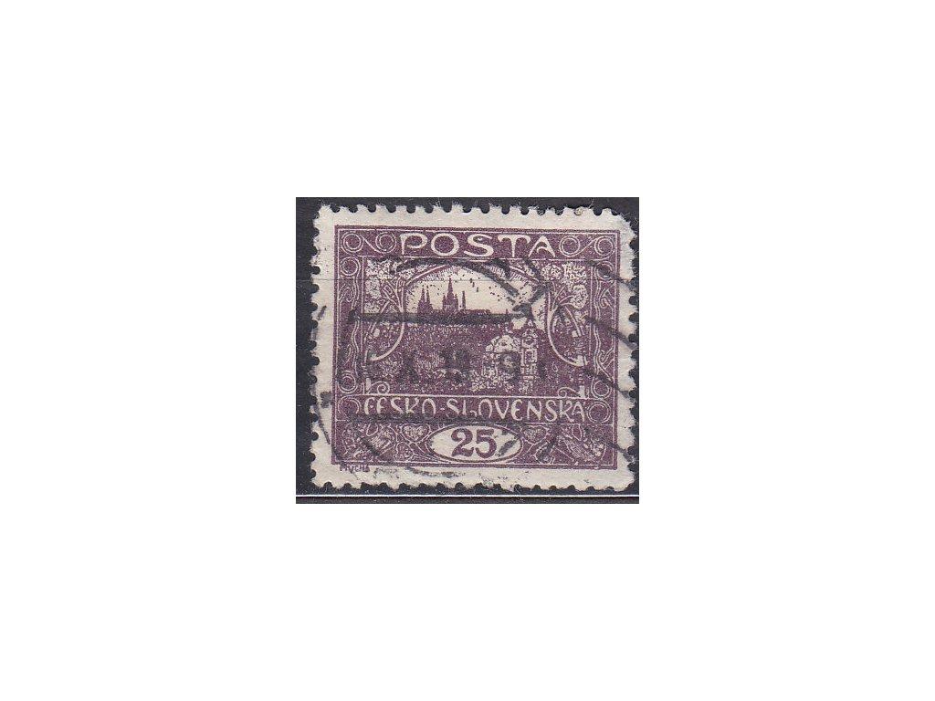 25h fialová, Řz.11 1/2, Nr.11D, razítkované, vada v rohu