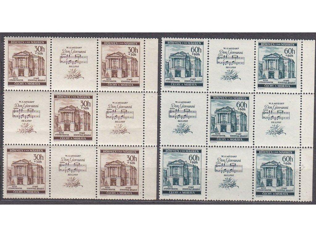 1941, 30 a 60h Mozart, krajové 9bloky, 1krát s DV - noty, Nr.68-9, **