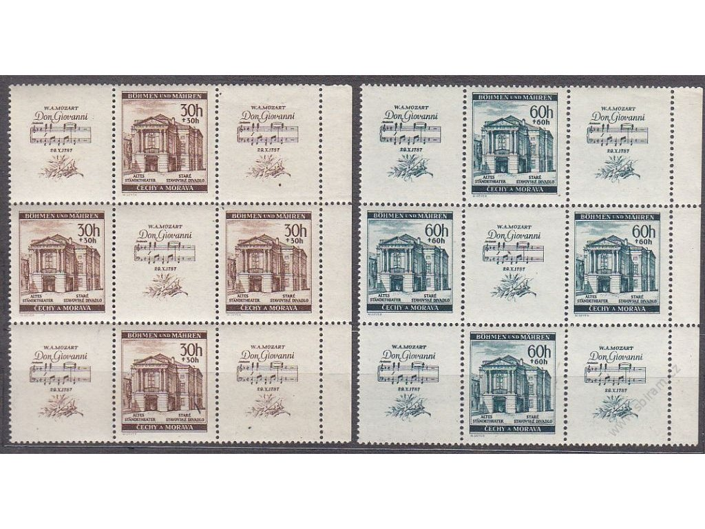 1941, 30 a 60h Mozart, krajové 9bloky, 2krát s DV - noty, Nr.68-9, **