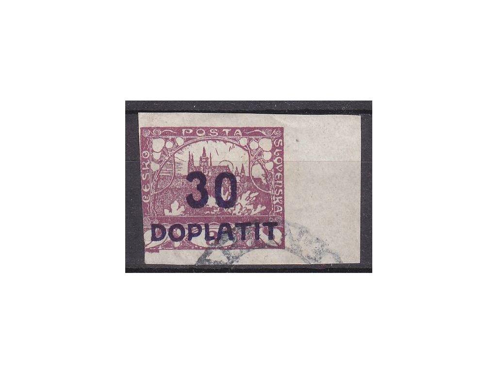 30/3h fialová, kraj. kus, retuš větve, Nr.DL17, razítkované, vlevo lehce zastřižená, razítko