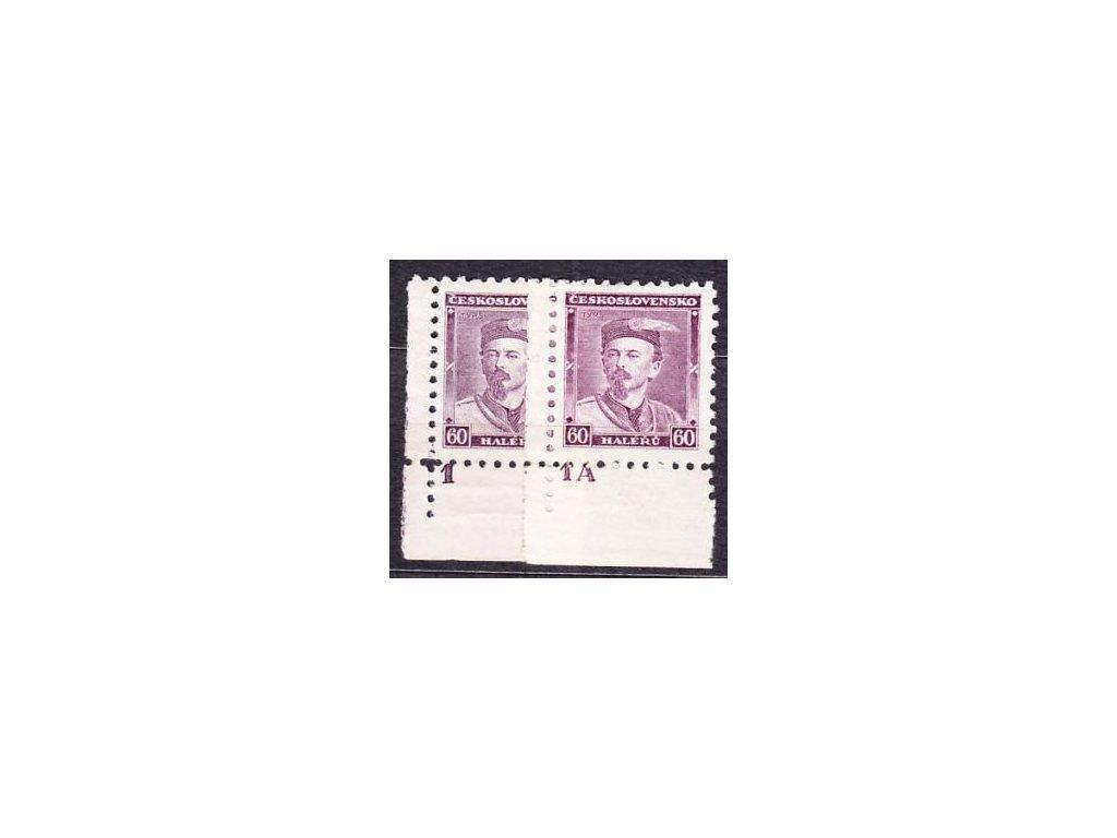 1933, 60h Tyrš, roh. kusy s DČ1,1A, Nr.272, **/*