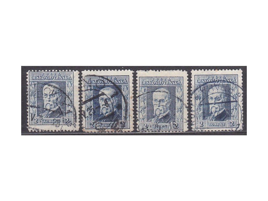 2Kč modrá, I.typ, 4 ks, svislé průsvitky 1-4, Nr.191, razítkované
