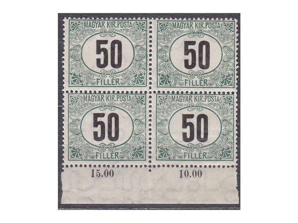 50f Doplatní - černé číslo, kraj. 4blok, **, zn. platná v ČSR, přeloženo mezi zn.