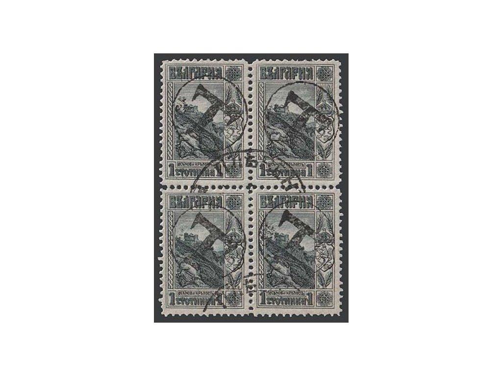 1915, 1 St s přetiskem T, 4blok, Nr.101, razítkované, přeloženo