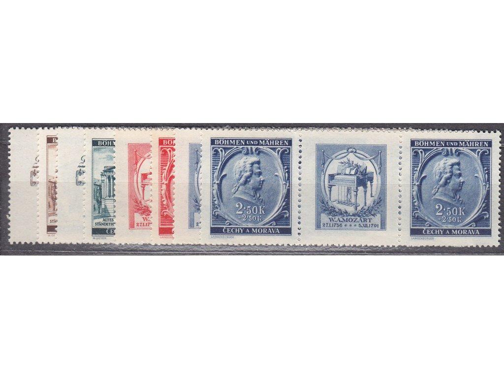 1941, 30h-2.50K Mozart, vodorovné spojky, VK8,14, Nr.68-71, **