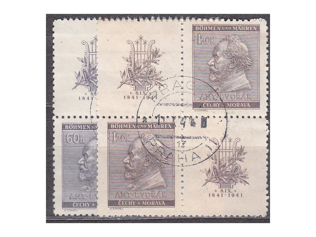 1941, 60h-1.20K Dvořák, Nr.62-3, VK-19, razítkované, ilustrační foto