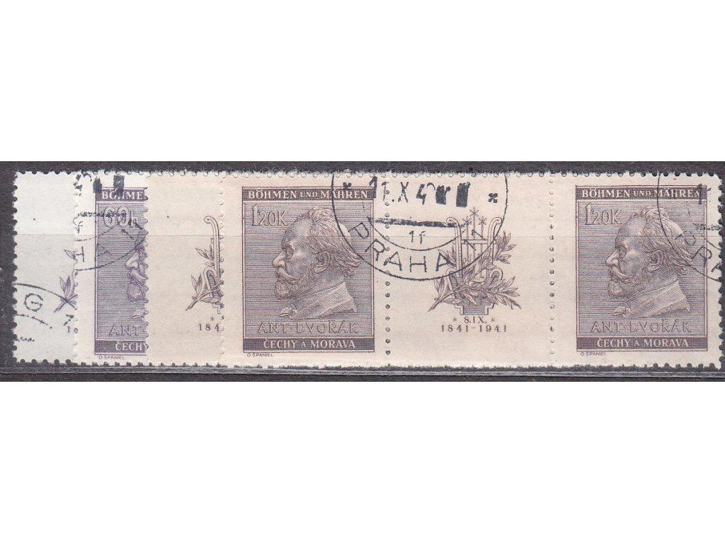 1941, 60h-1.20K Dvořák, Nr.62-3, VK-8,14, razítkované, ilustrační foto