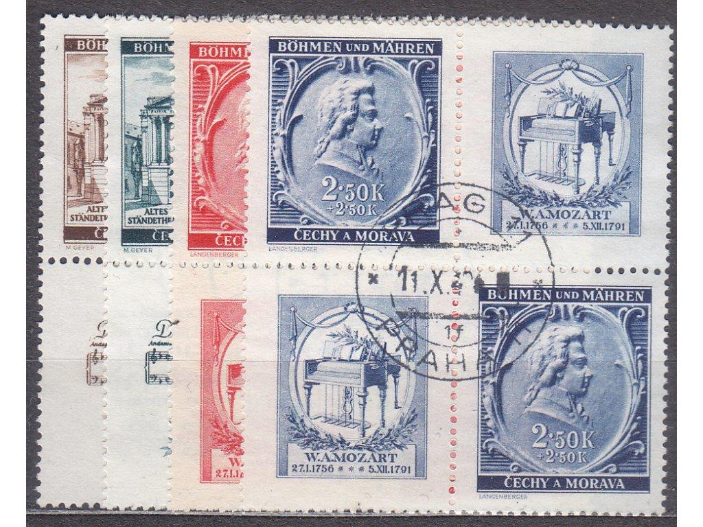 1941, 30h-2.50K Mozart, Nr.68-71,VK-20, razítkované, ilustrační foto