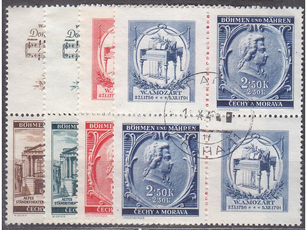 1941, 30h-2.50K Mozart, Nr.68-71,VK-19, razítkované, ilustrační foto