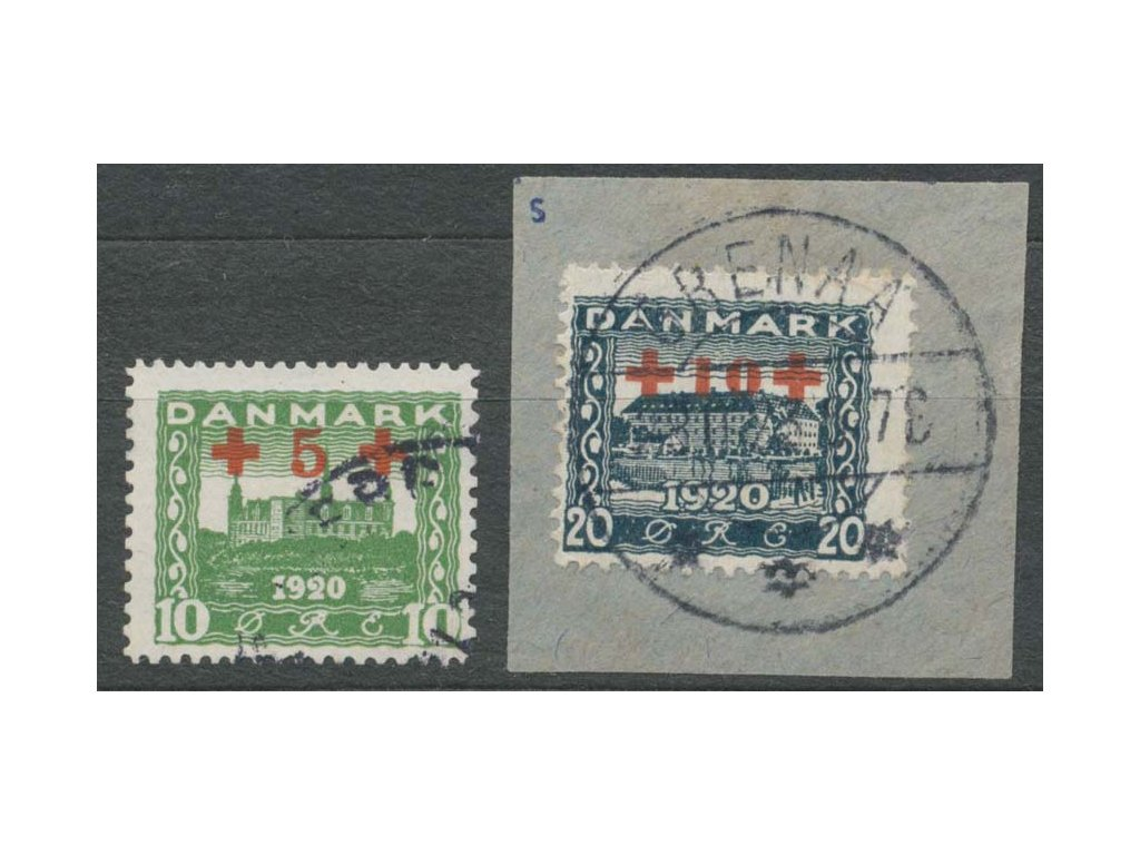 1921, 10-20 Q série Červený kříž, MiNr.116-17, razítkované