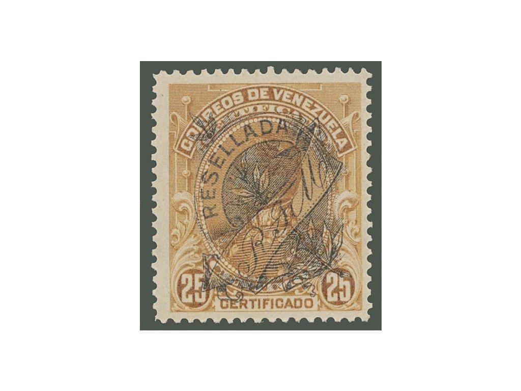 Venezuela, 1900, 25 C s přetiskem RESELLADA, MiNr.67, **
