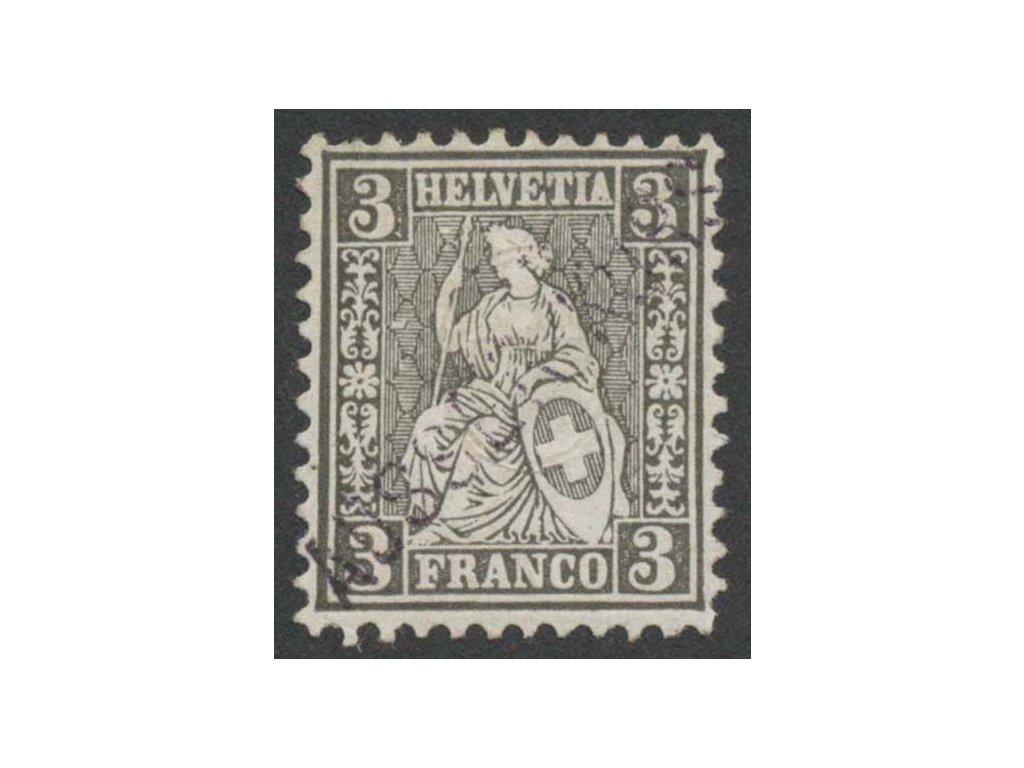 1862, 3C Helvetia s přetiskem AUSSER KURS, MiNr.21, (*)
