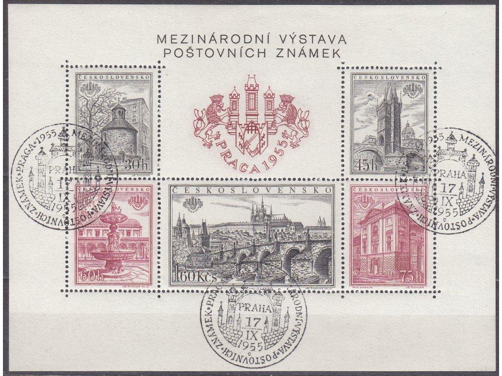 1955, zoubkovaný aršík PRAGA 1955, pamětní razítka, písmeno C, Nr.A853-7