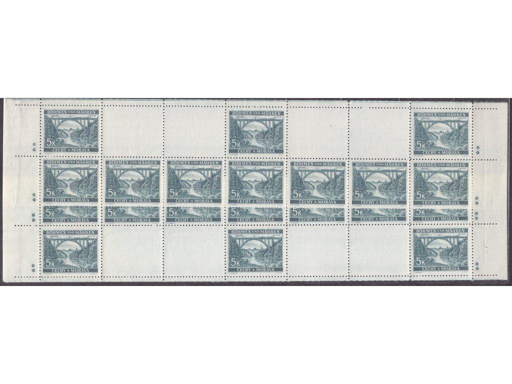 1940, 5K Bechyně, H+D pás, 2 hvězdičky, Nr.45, **/*