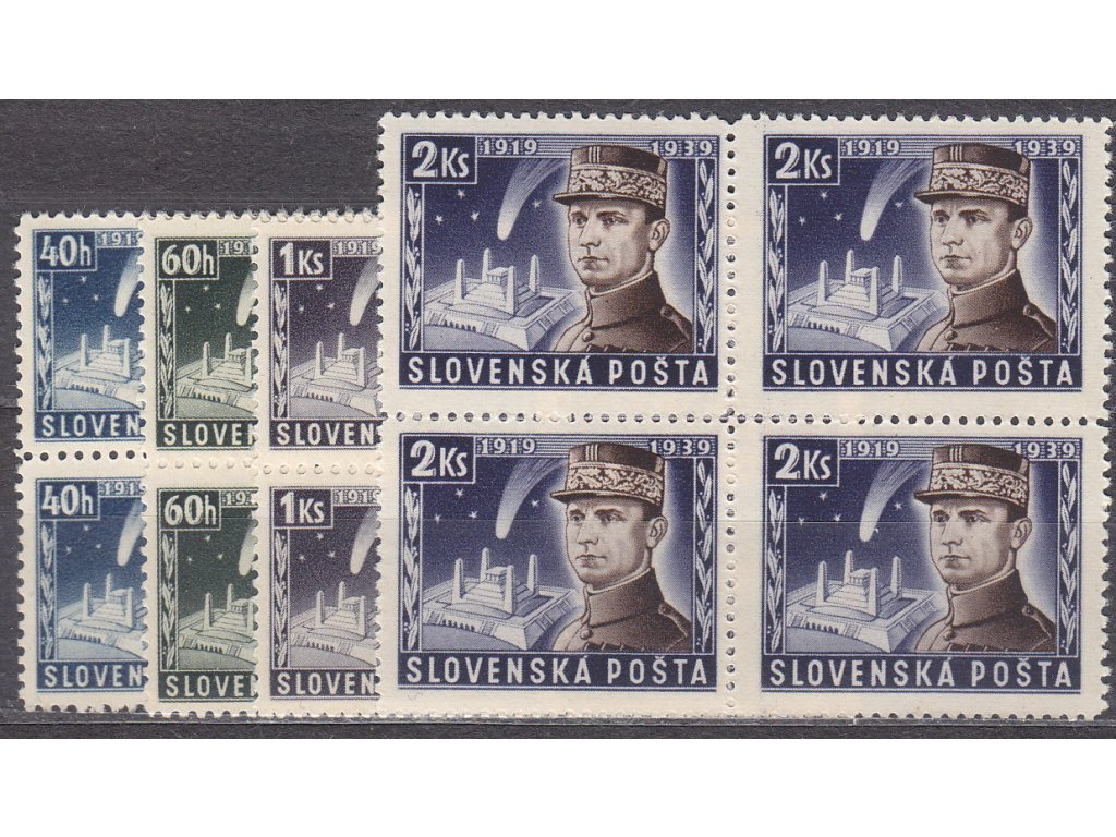 1939, 40h-2Ks Štefanik, série, 4bloky, Nr.34-7, **, ilustrační foto