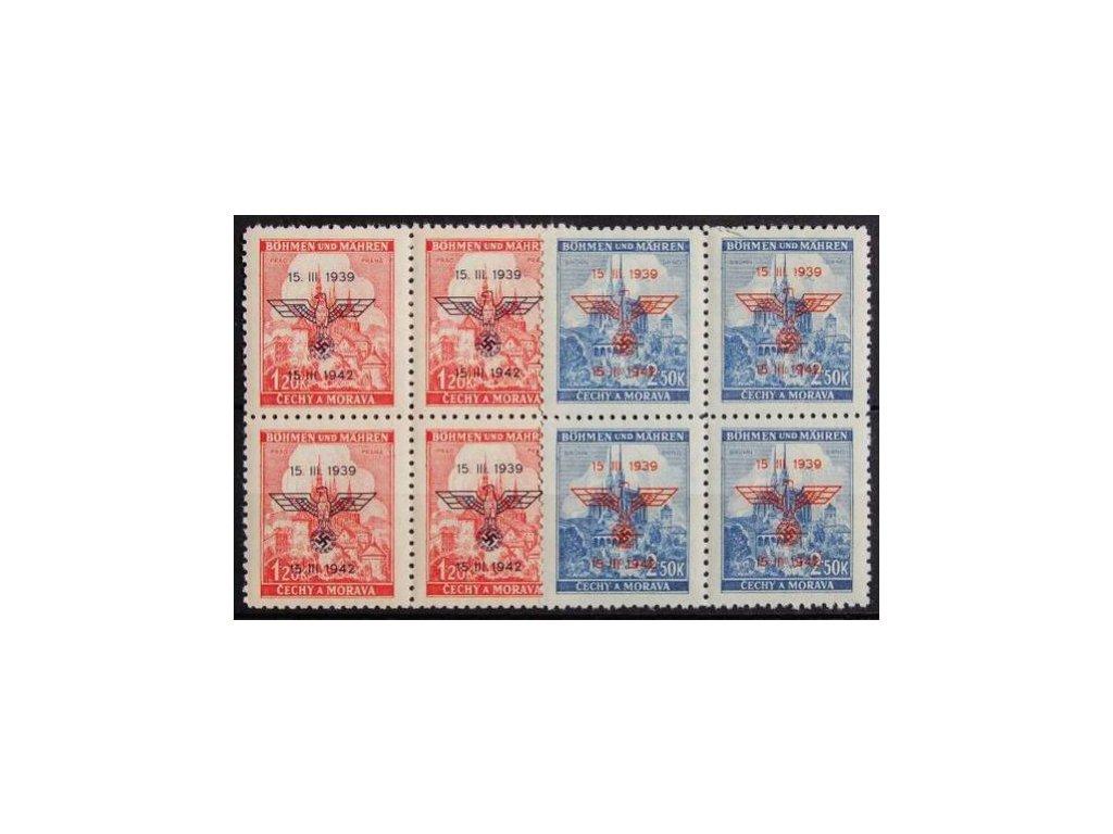 1942, 1.20-2.50K Výročí protektor., 4bloky
