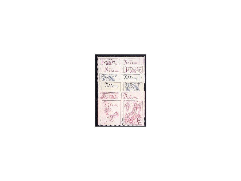 1948, 1.50-3Kčs Dětem, levé a pravé kupony, Nr.494-6, **