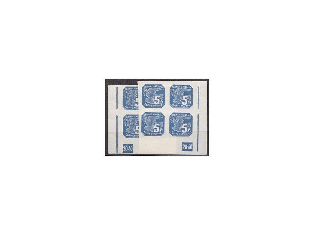 1939, 5h modrá, 2 rohové 4bloky s DČ20-40 L+P, Nr.NV2, **