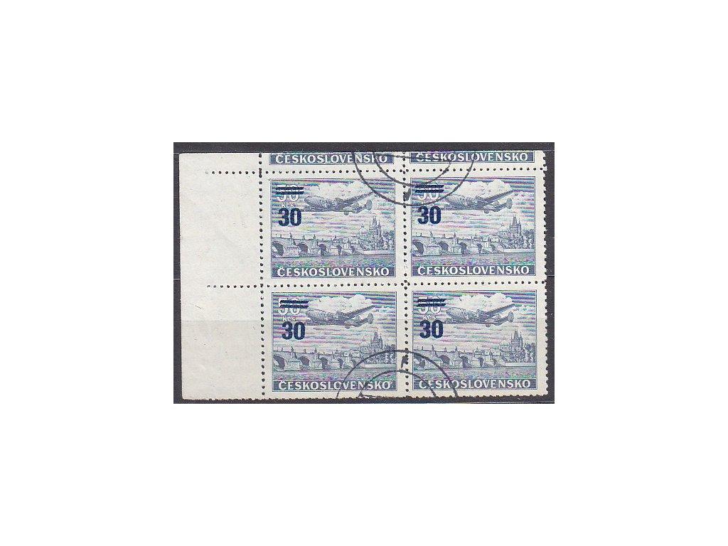30/50Kčs Letecké, roh. 4blok s DV - šikmý přetisk na ZP8/1, ST, Nr.L32ST, razítkované