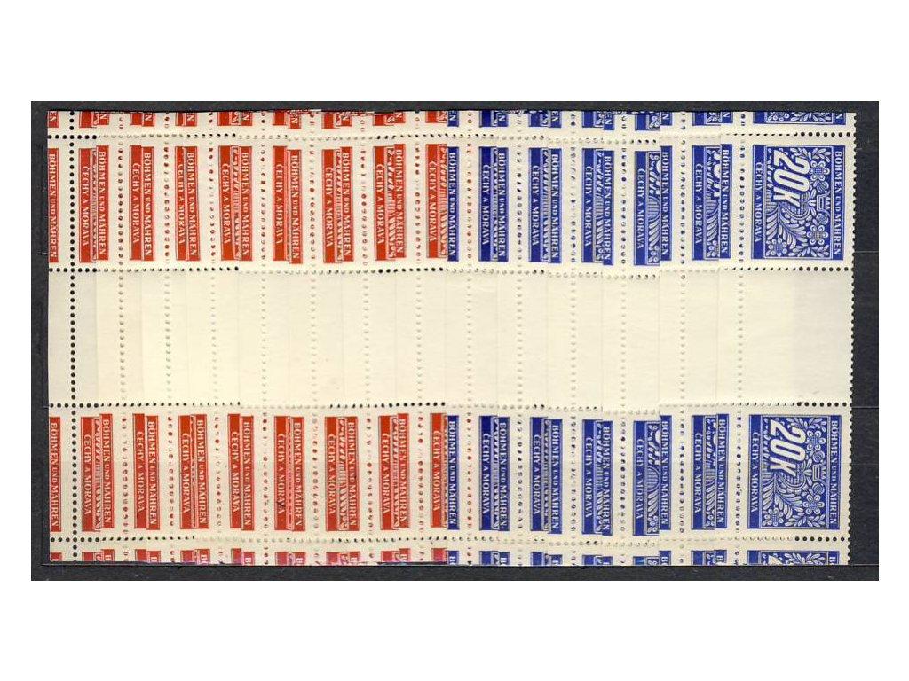 1939, 5h-20K série, řezané meziarší s dolním okrajem, Nr.DL1-14, **