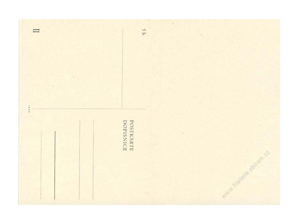1940, dvojitá dopisnice bez vytištěné známky